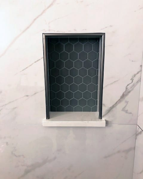 Black Hexagon Pattern Shower Niche Ideas With Large Format Marble Tiles