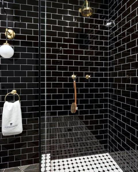 Black Home Subway Tile Shower Ideas