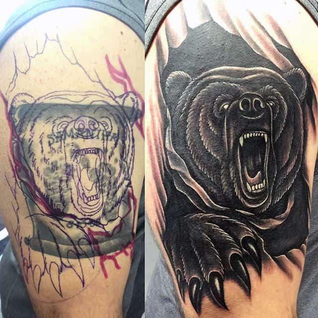 Black Ink 3d Male Upper Arm Bear Claw Tattoo Ideas