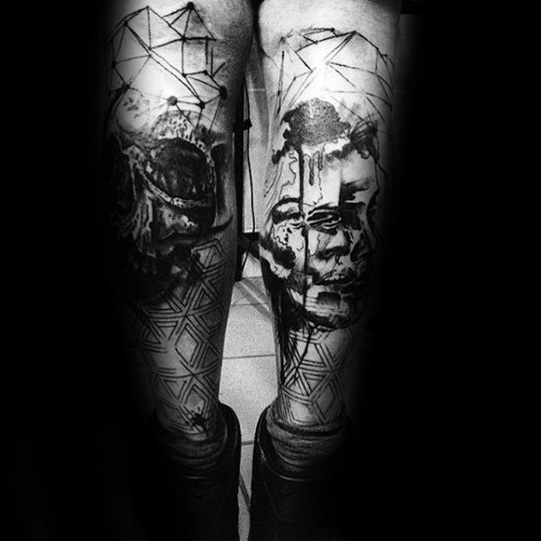 Black Ink Abstract Male Trash Polka Leg Tattoos