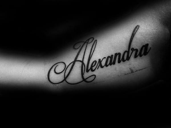 Black Ink Alexandra Name Inner Arm Tattoo On Guy