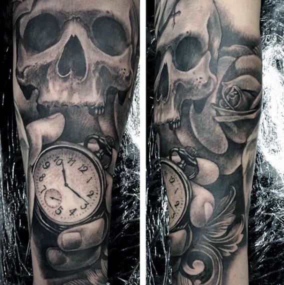 fcf0eaa2f Black Ink Amazing Pocket Clock Tattoo On Sleeves For Guys