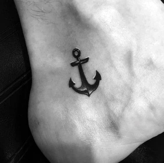 Black Ink Anchor Ankle Guys Tattoo