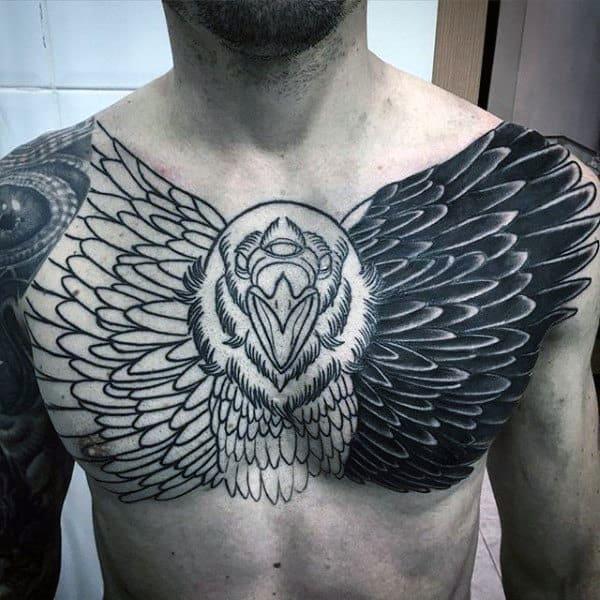 Black Ink Awesome Mens Upper Chest Owl Tattoo Blackwork Design Ideas