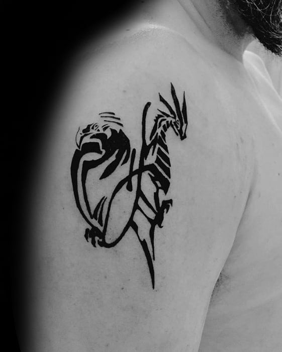 Black Ink Awesome Simple Dragon Tattoos For Men