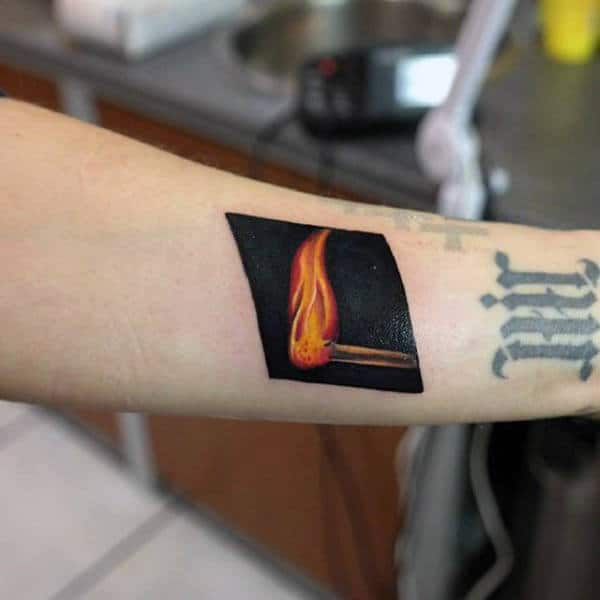 Black Ink Background Fire Match Tattoos For Guys