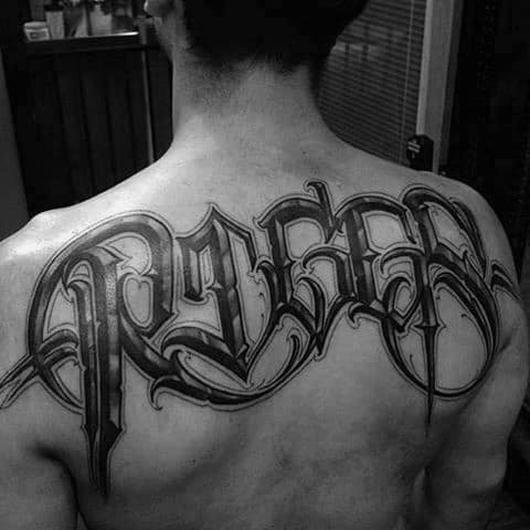 Black Ink Badass Lettering Male Back Tattoos