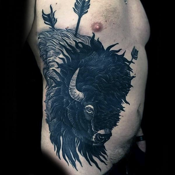 Black Ink Badass Mens Rib Cage Side Bison With Arrows Tattoos