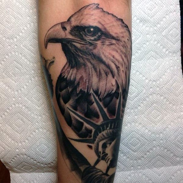 Black Ink Bald Eagle And Statue Of New York Tattoos Mens Forearms