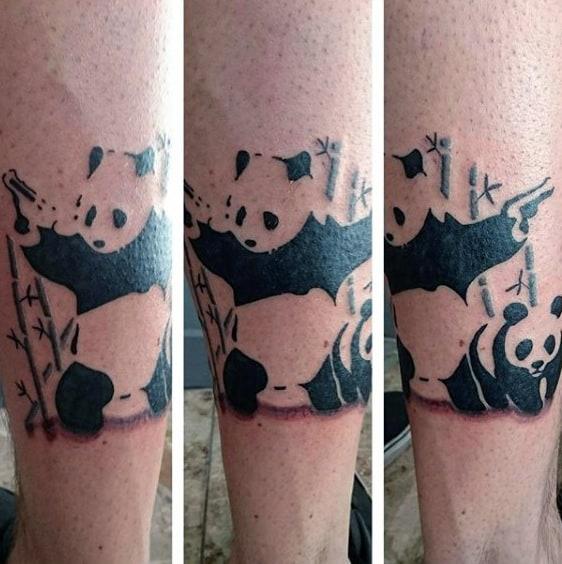 Black Ink Banksy Panda With Gun Mens Leg Tattoos