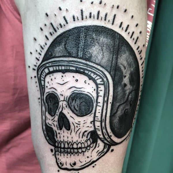 Black Ink Biker Skull With Helmet Mens Arm Tattoo