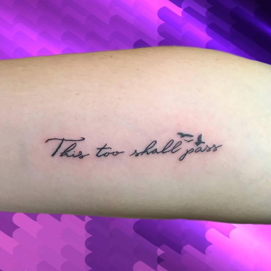 Black Ink Bird This Too Shall Pass Tattoo