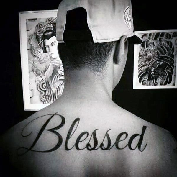 Black Ink Blessed Mens Upper Back Tattoos