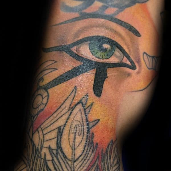 Black Ink Bold Eye Of Horus Mens Arm Tattoo