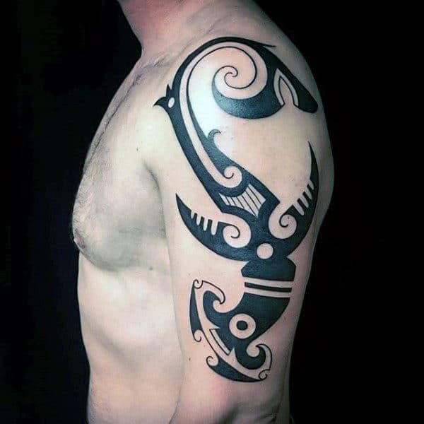 Black Ink Bold Guys Hammerhead Shark Tribal Tatto On Upper Arm