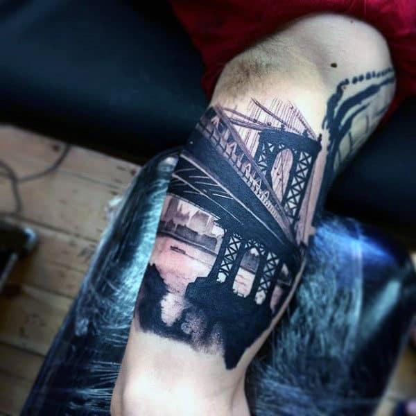 Black Ink Bridge Over Water Mens Bicep Tattoos