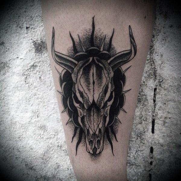Black Ink Bull Skull Old School Mens Tattoos