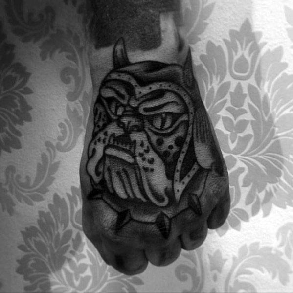 Black Ink Bulldog Traditional Hand Tattoos For Men