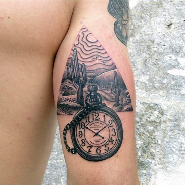 Black Ink Cactus Desert Sun Tattoo With Pocket Watch For Men