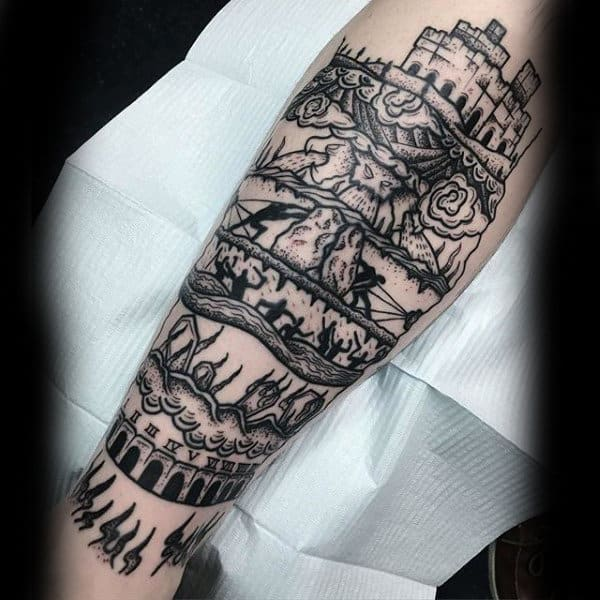 Black Ink Castle Shin Dotwork Mens Tattoo Ideas