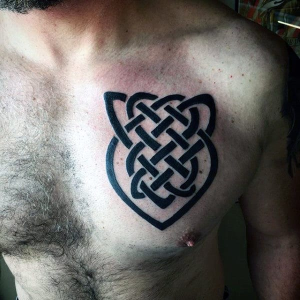 Black Ink Celtic Knot Interlacing Tattoo Ideas On Chest