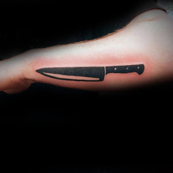 Black Ink Chef Knife Male Tattoo Inspiration On Outer Forearms