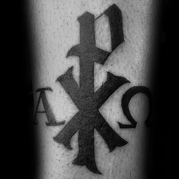 Black Ink Chi Rho Christogram Symbolism Male Tattoos