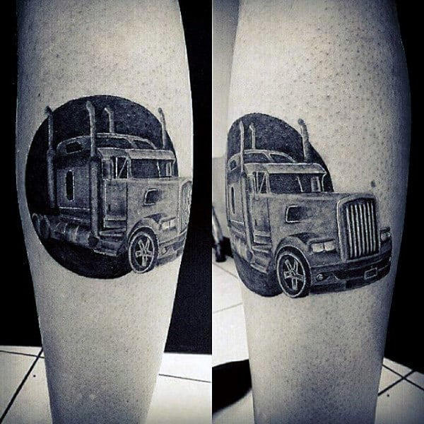 Black Ink Circle Guys Semi Truck Tattoos