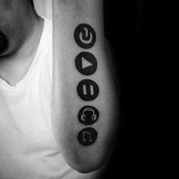 Black Ink Circles With Music Note Negative Space Design Mens Outer Forearm Tattoos