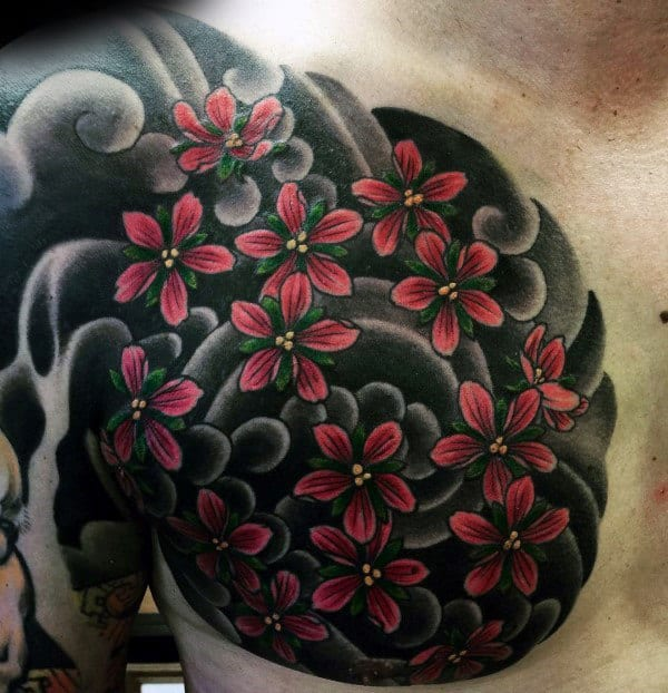 Black Ink Clouds Cherry Blossom Mens Chest Tattoos