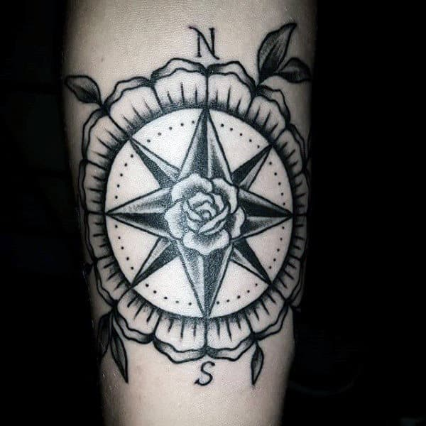 Black Ink Compass Rose Male Inner Forearm Traditional Tattoos