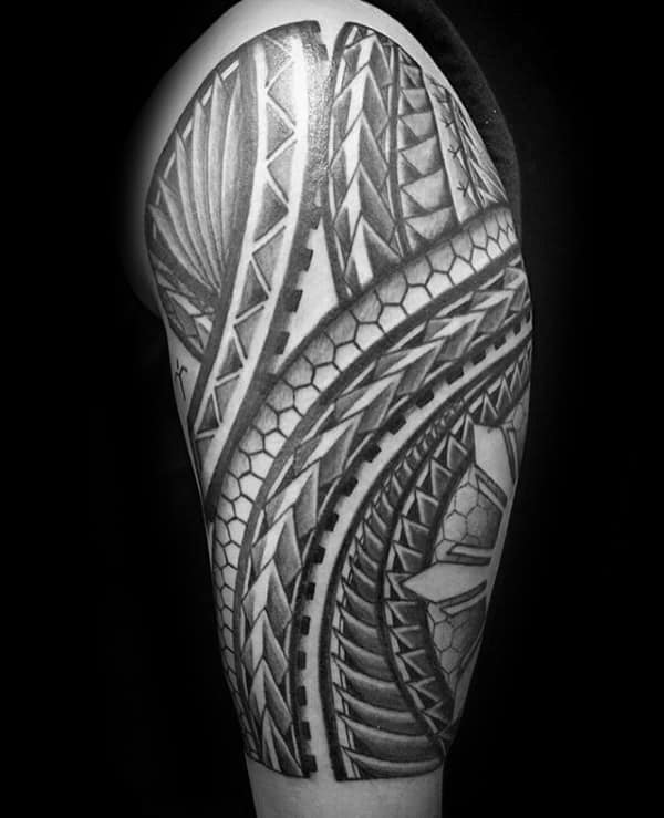 Black Ink Cool Tribal Tattoos For Guys Half Sleeve