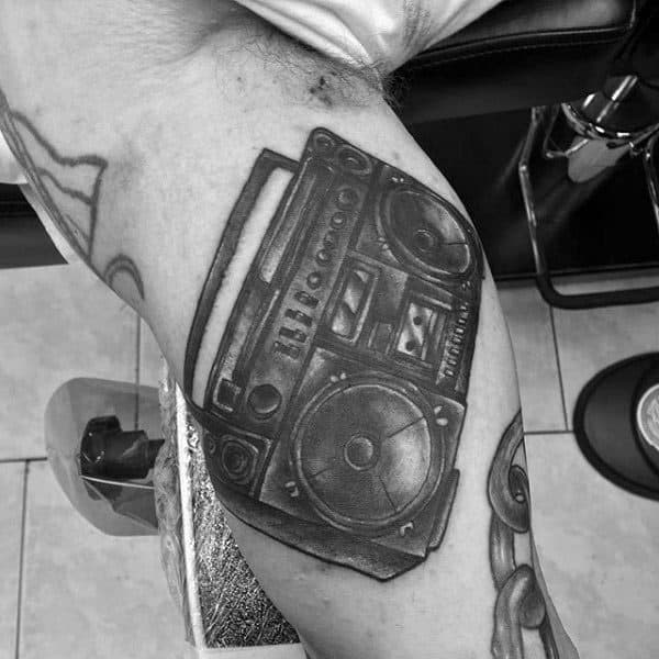 Black Ink Dark Shaded Guys Boombox Inner Arm Bicep Tattoos
