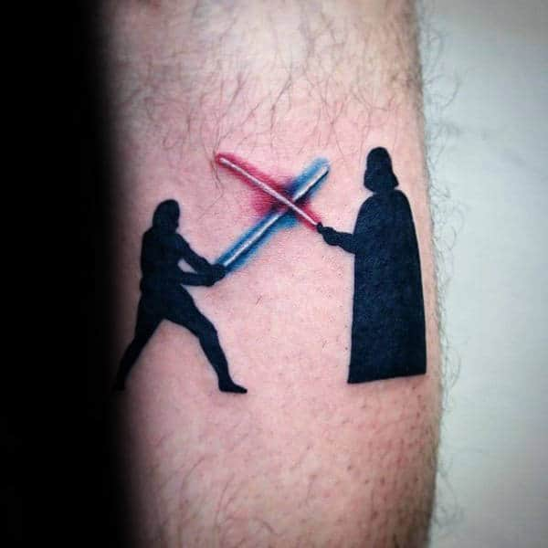 Black Ink Darth Vader And Luke Skywalker Lightsaber Mens Tattoo