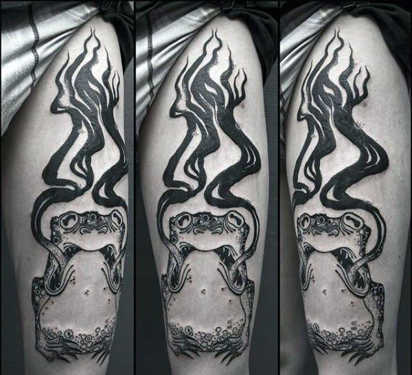 Black Ink Demon Frog Mens Thigh Tattoos
