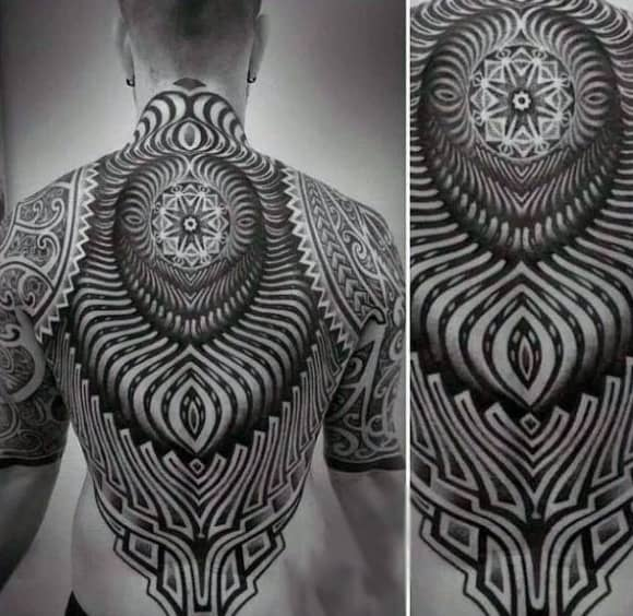 Black Ink Design Tribal Tattoos For Guys Back