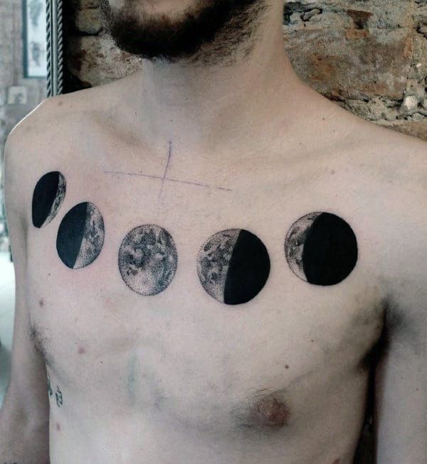 Black Ink Detailed Mens Moon Phases Upper Chest Tattoos