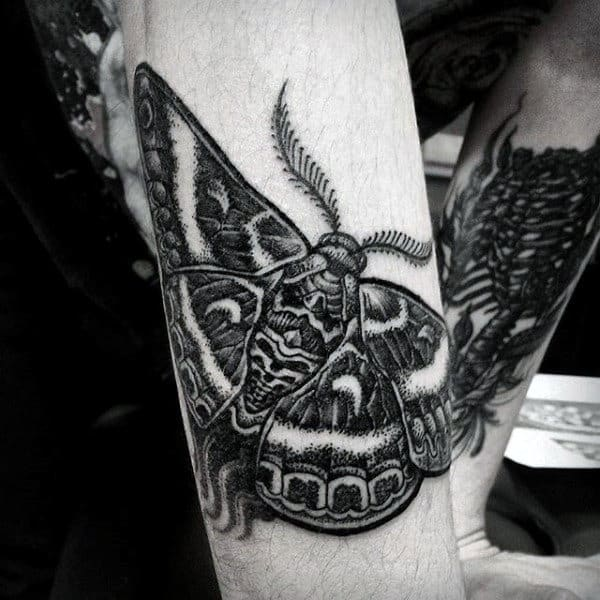 Black Ink Dotwork Guys Moth Outer Forearm Tattoo