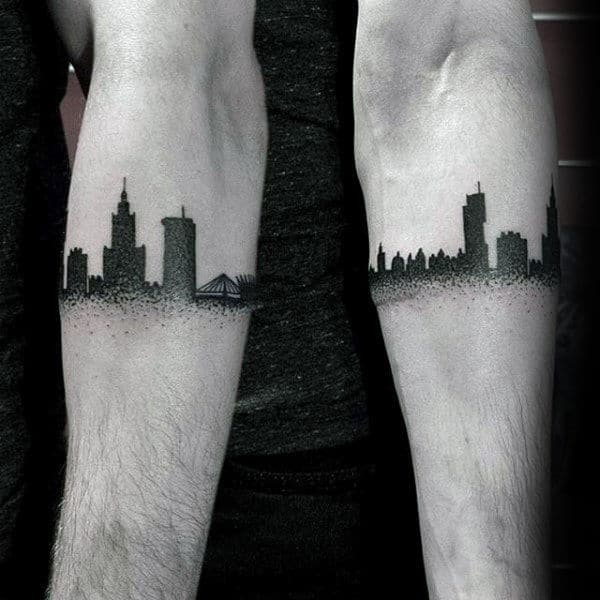 Black Ink Dotwork Mens Building Armband Tattoos