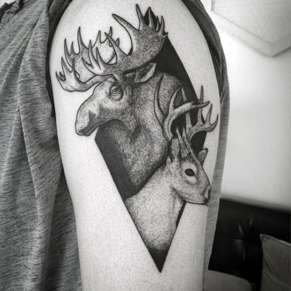 Black Ink Dotwork Upper Arm Guys Moose Tattoos
