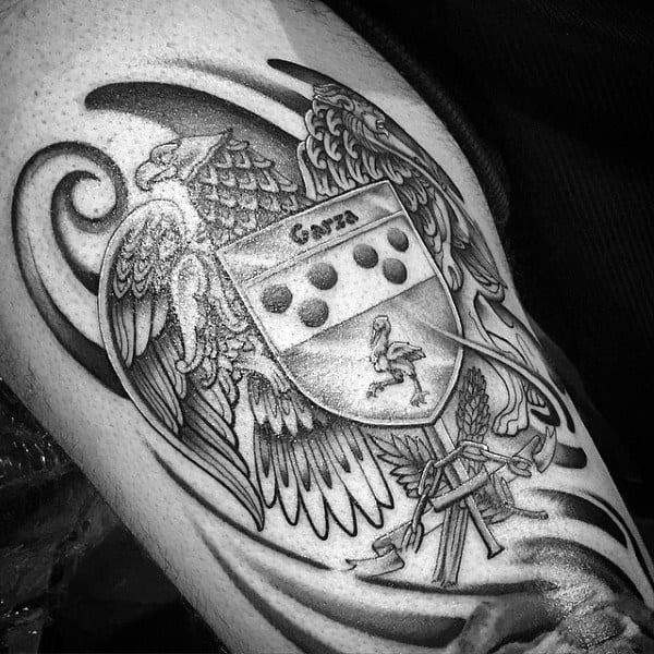 Black Ink Eagle Mens Family Crest Tattoo Designs