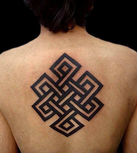 Black Ink Endless Knot Tattoo On Mans Back