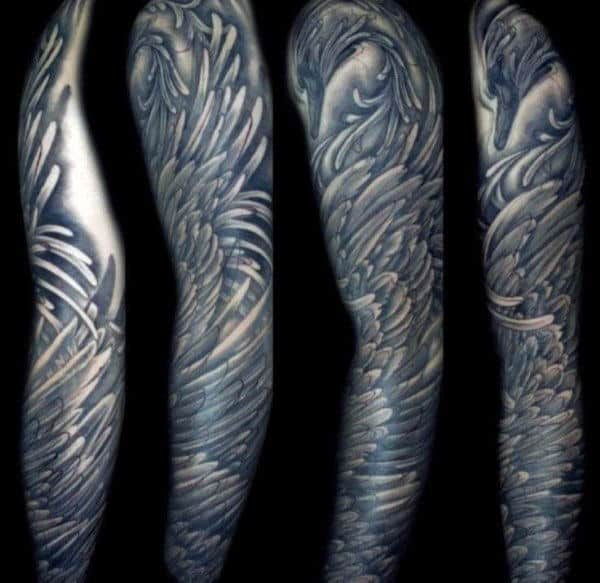 Black Ink Feather Design Tattoo Sleeves For Men