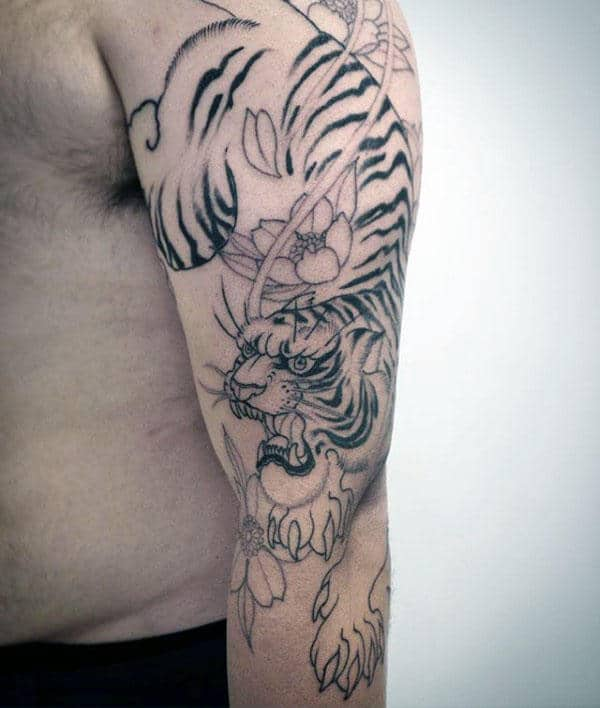 Black Ink Flowers With Tiger Mens Japanese Arm Tattoo