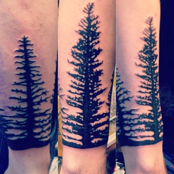 Black Ink Forearm Tree Tattoo On Gentleman