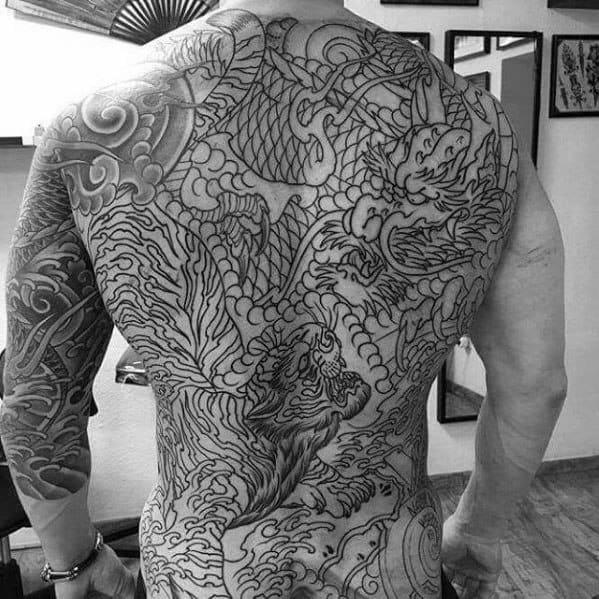 Black Ink Full Back Male Tiger Dragon Tattoo Ideas