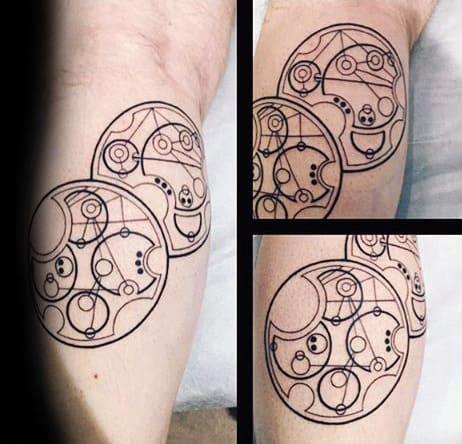 Black Ink Gallifreyan Themed Mens Leg Tattoo Ideas