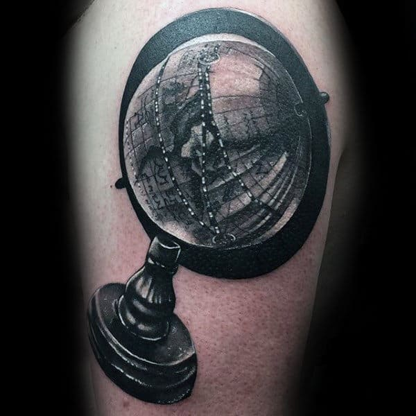 Black Ink Globe Shaded Male Arm Tattoo
