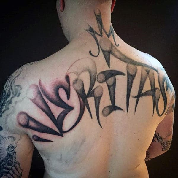 Black Ink Graffiti Style Mens Back Tattoos