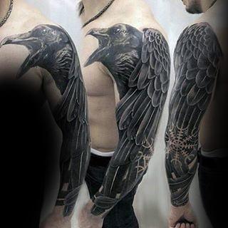Black Ink Grow Rune Negative Space Mens Sleeve Tattoos